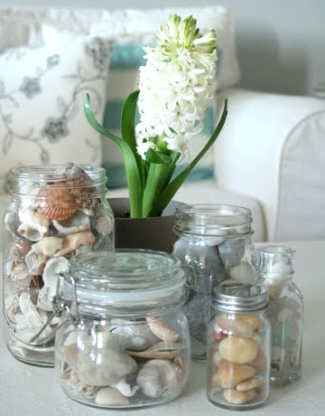 tabletop decorating with glass jars