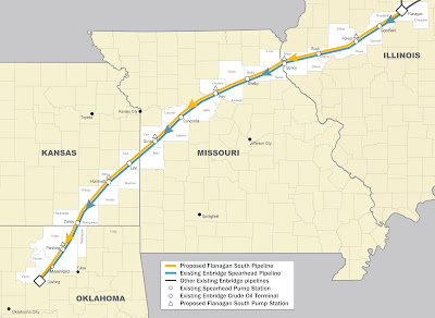 Map of Flanagan South Pipeline through IL, MO, KS, and OK: STEMmom.org