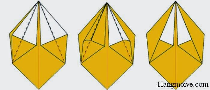 Bước 10: Gấp 2 cạnh ngoài của 2 quả trám theo chiều từ ngoài vào trong như hình 2 bên dưới ta sẽ được kết quả như hình thứ 3 bên dưới.
