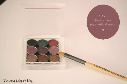 faire soi même son maquillage bio palette de fard à paupières vide pressage de mica TKB et MAC facilement à l'alcool et mélange de silicone