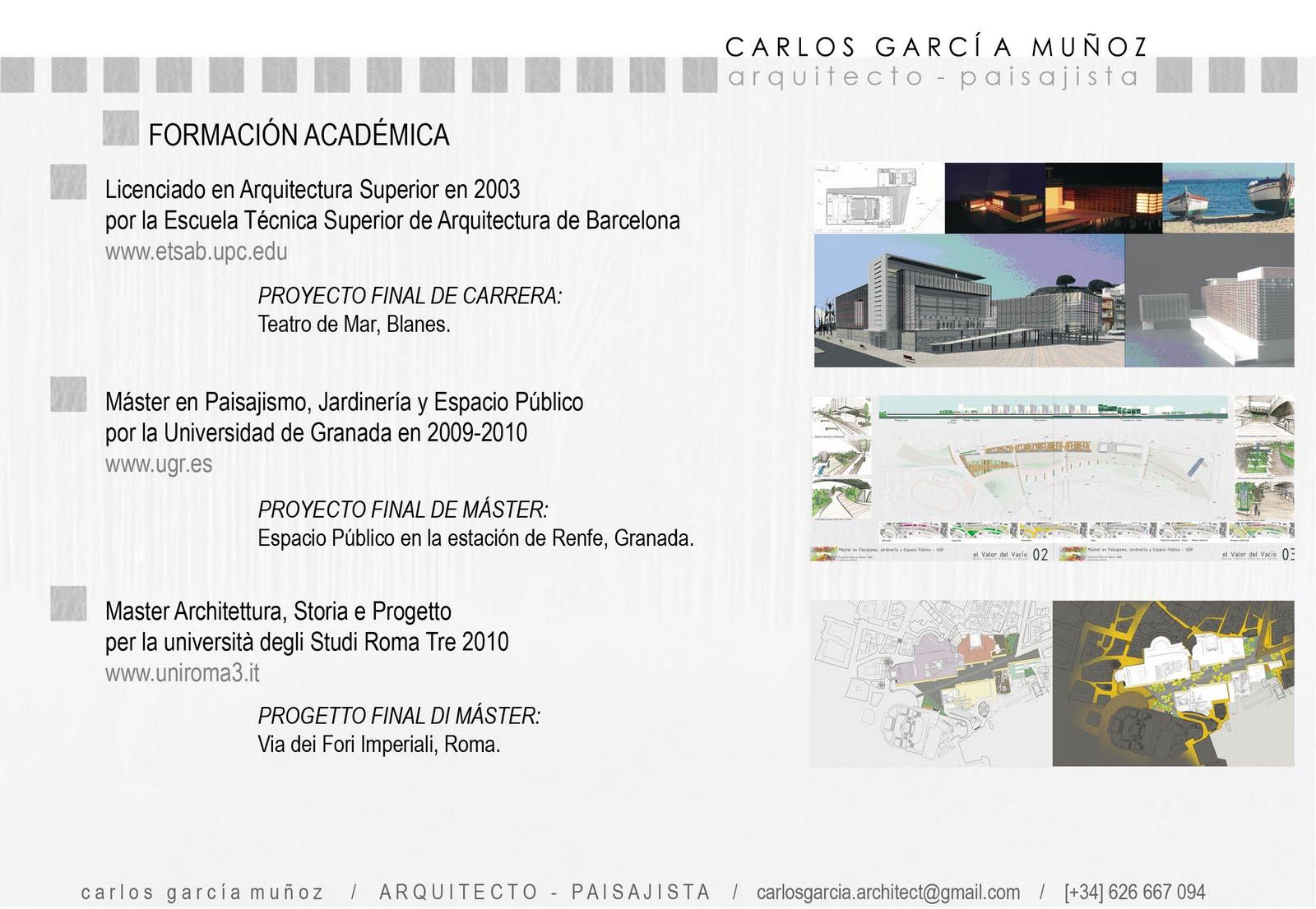 Carlosgarcia arquitecto curriculum vitae - Master en paisajismo ...