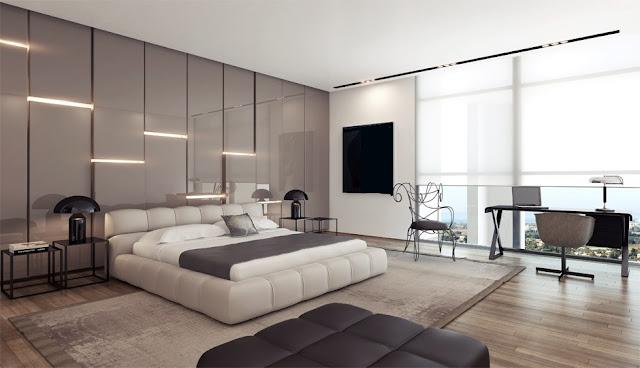 Chambre Adulte Moderne Design. Chambre A Coucher Noir Et Blanc ...