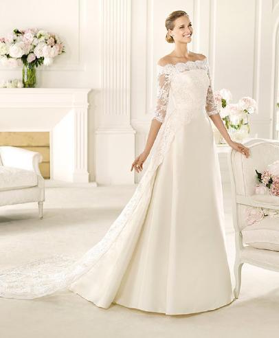 Vestidos novia encaje escote barco
