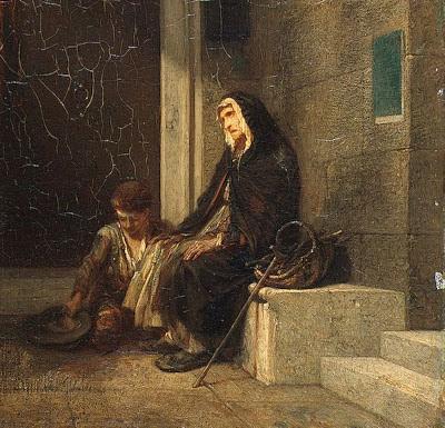 Pedindo esmola. Alexandre-Gabriel Decamps (1803-1860), col. part.