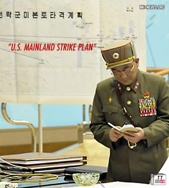 """Phiên bản ảnh phóng to cho phép độc giả dễ dàng nhìn thấy và đọc được dòng chữ tiếng Triều Tiên cỡ lớn, in đậm có nghĩa là """"Kế hoạch tấn công lục địa Mỹ""""."""