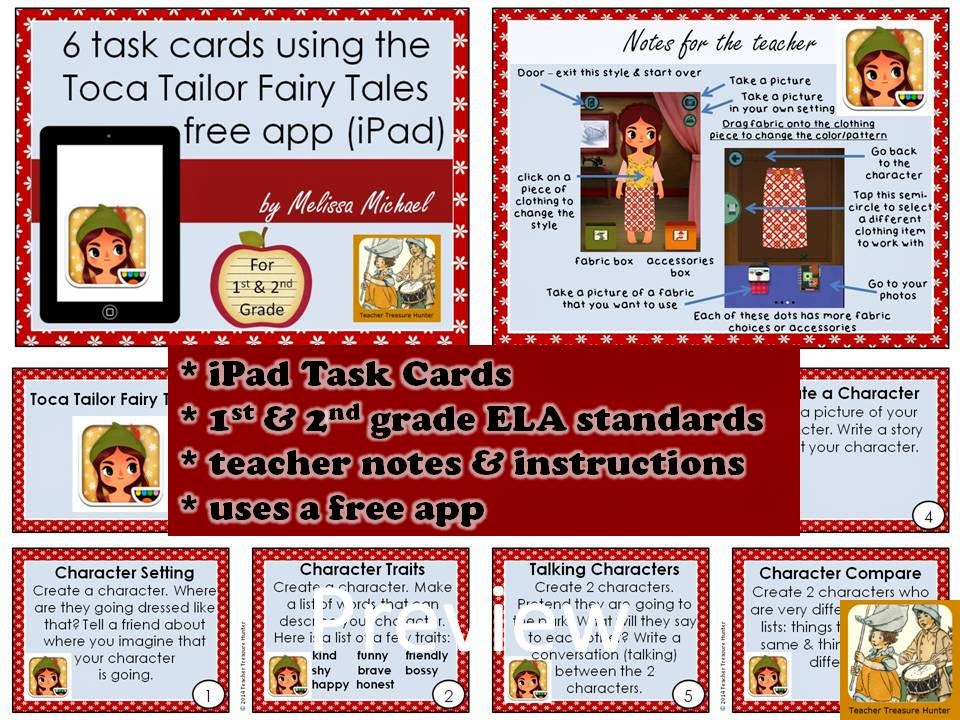 http://www.teacherspayteachers.com/Product/6-iPad-Task-cards-for-1st-2nd-grade-using-a-free-app-Toca-Tailor-Fairy-Tales-1151814