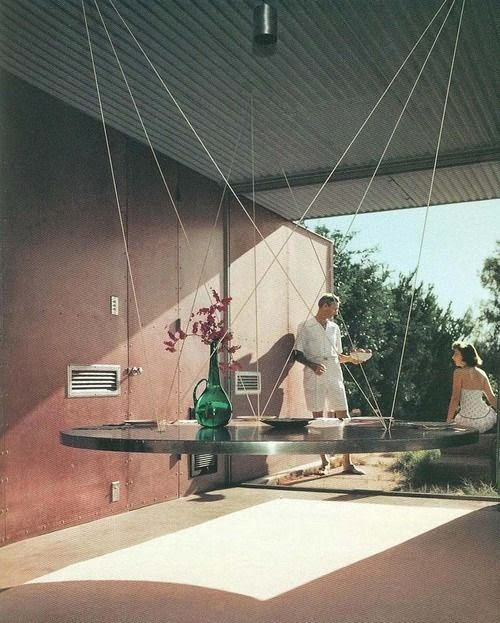 Floating Table von Albert Frey 1960, Foto Julius Shulman