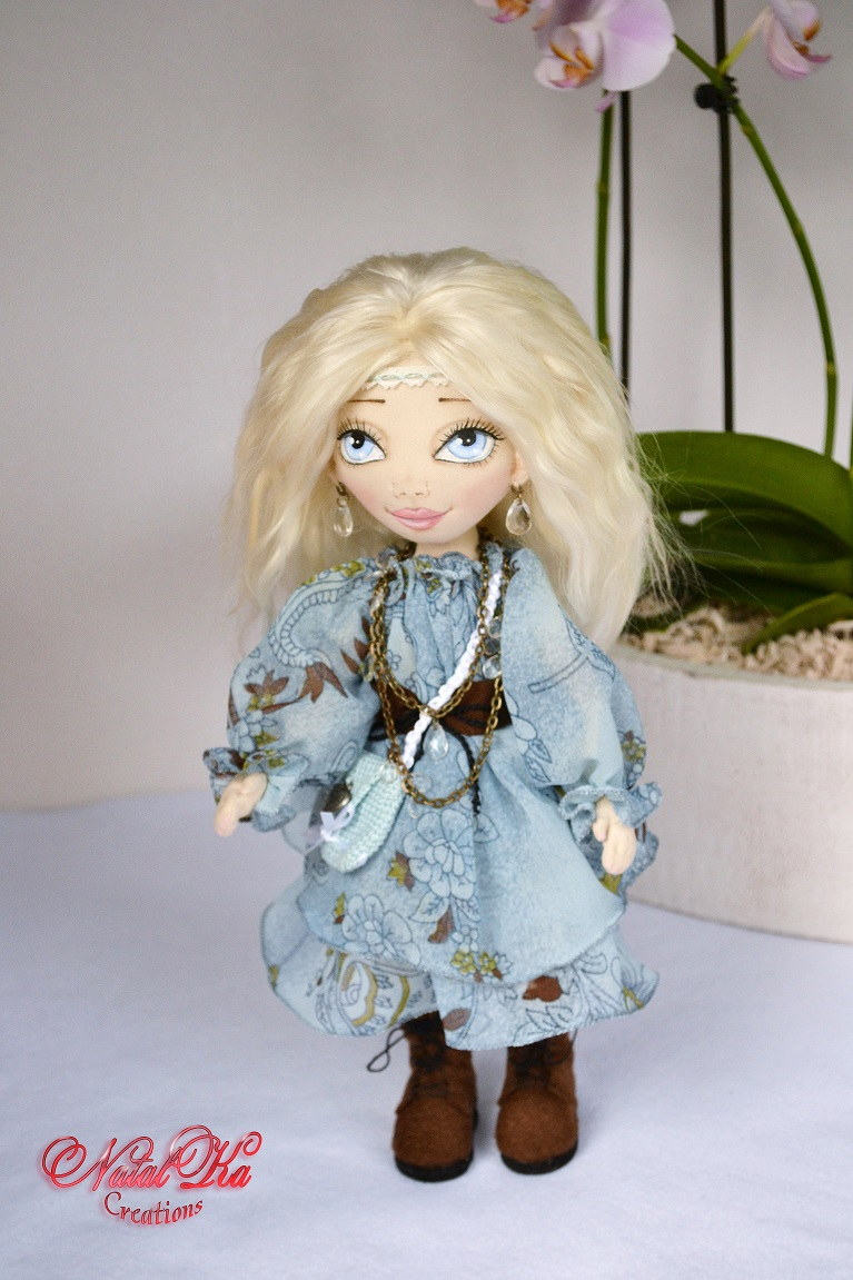 Cloth rag fabric textile art doll. Boho. Hippie