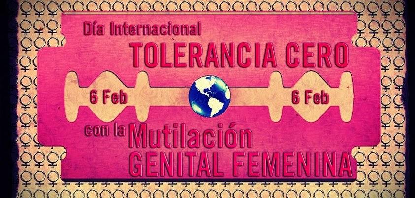 Sobre una cuchilla rosa se puede leer Día Internacional Tolerancia Cero con la Mutilación Genital Femenina