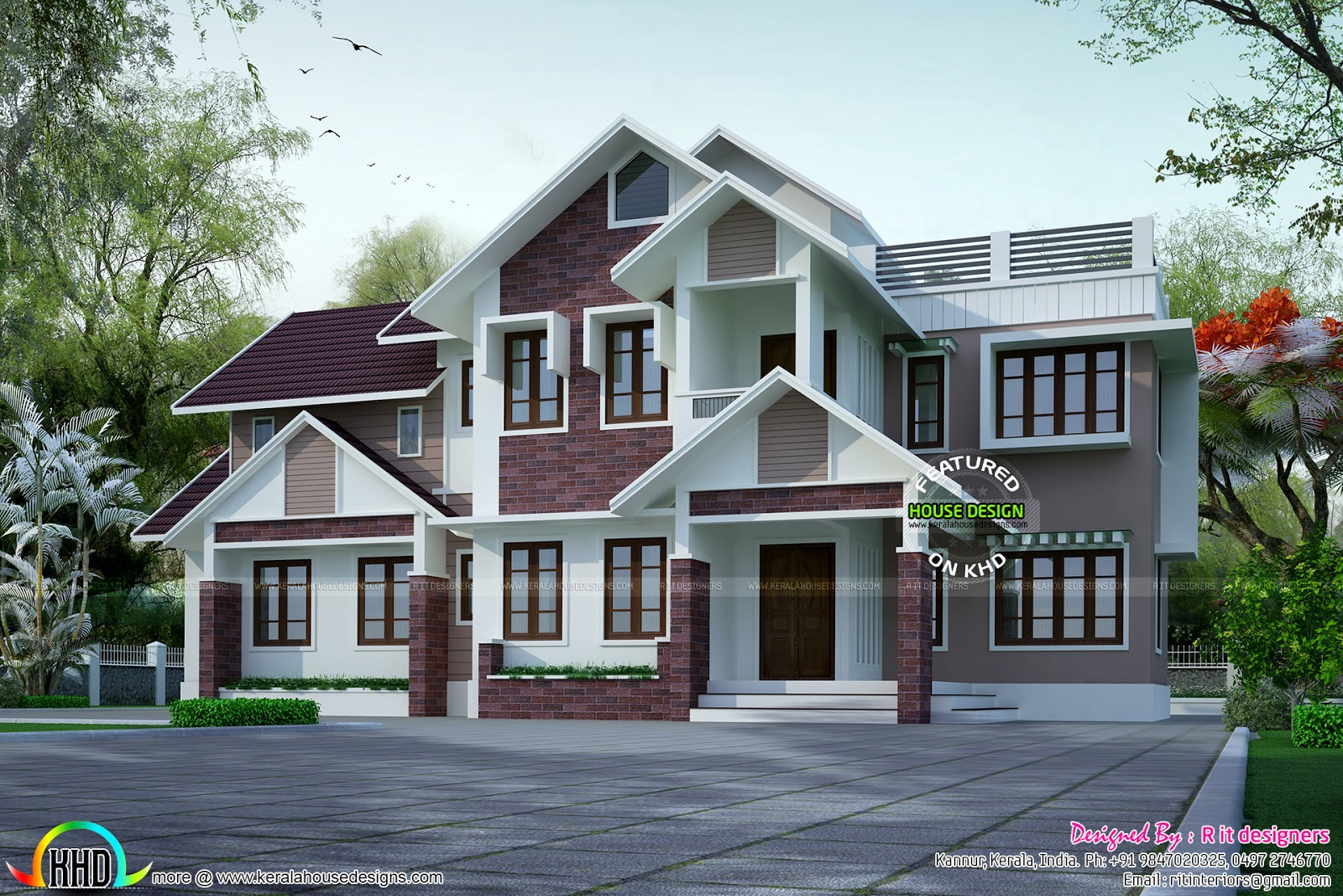 Superb slope roof house plan kerala home design and for Slope home plans