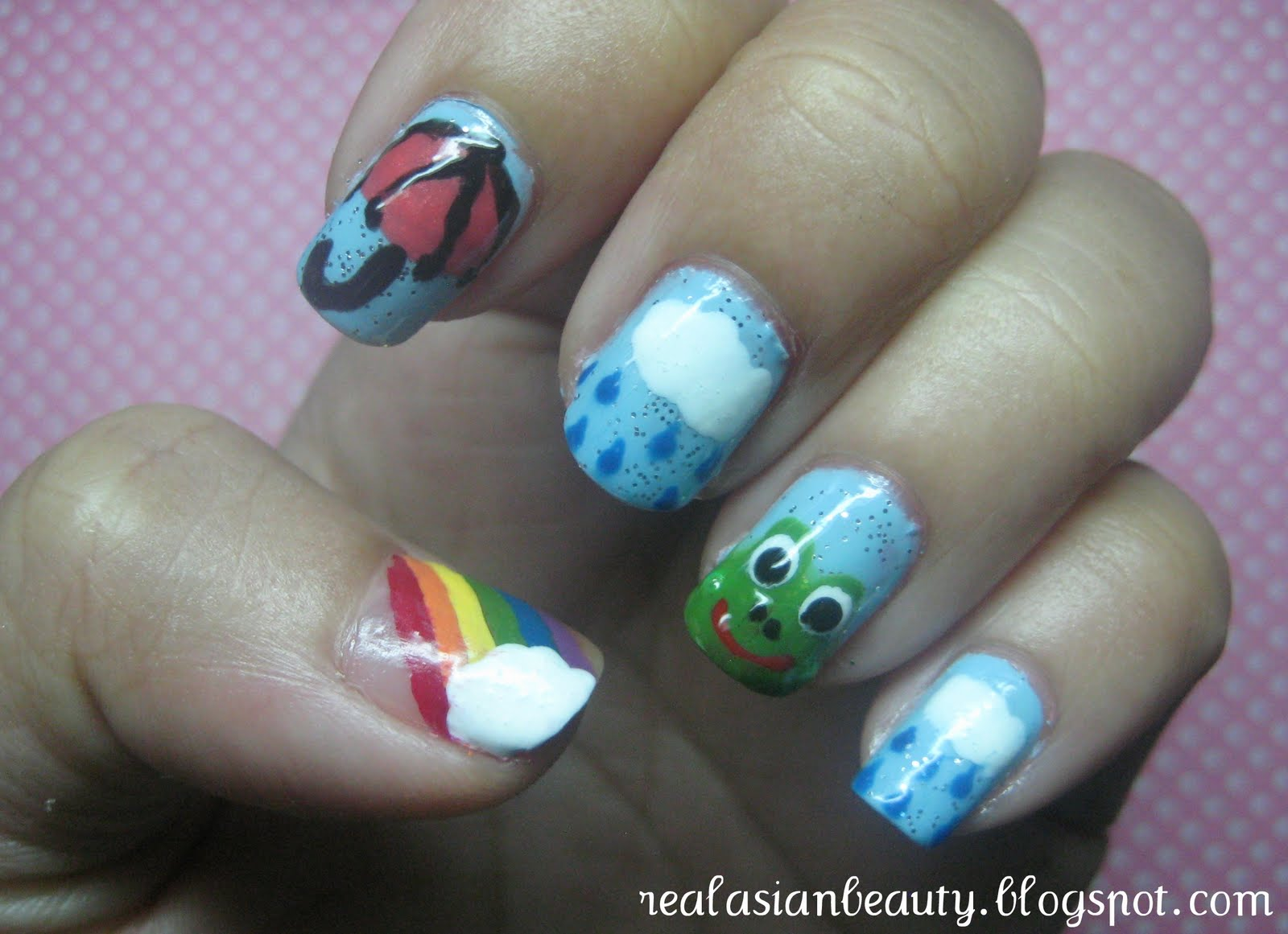Real Asian Beauty: Rainy Day Nail Art (Raindrops and Frog) Tutorial
