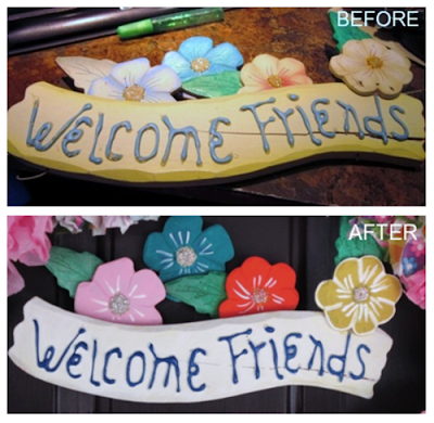 "wood banner from an old wreath that reads ""Welcome Friends"""