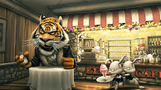 Funny Hungry Tiger Cartoon Wallpaper