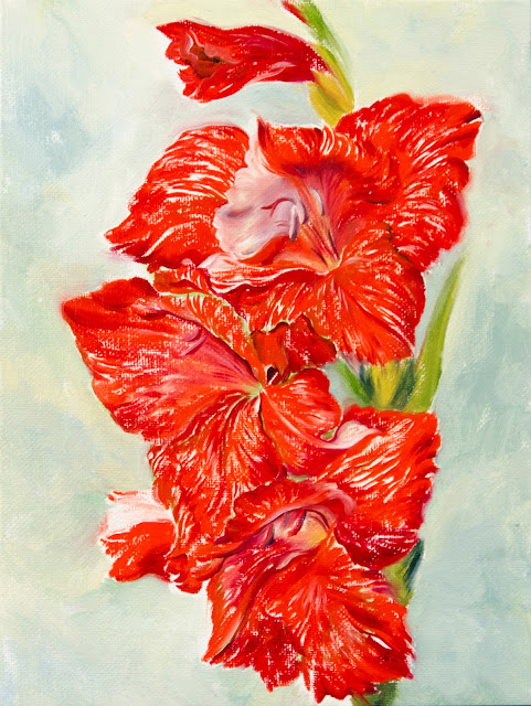 Flower Red Gladiolus original oil painting