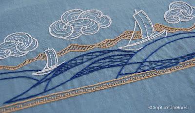 Japanese Boats hand embroidery design