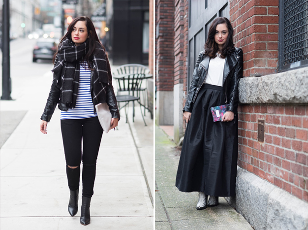 coco and vera, top vancouver style blog, one jacket ten ways, remix, H&M black vegan leather jacket