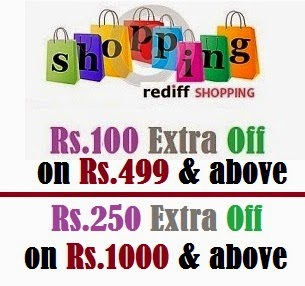 Rediff Shopping New Coupons: Rs.100 off on Rs.499 & above | Rs.250 off on Rs.1000 & above (Valid till 31st Aug'14)