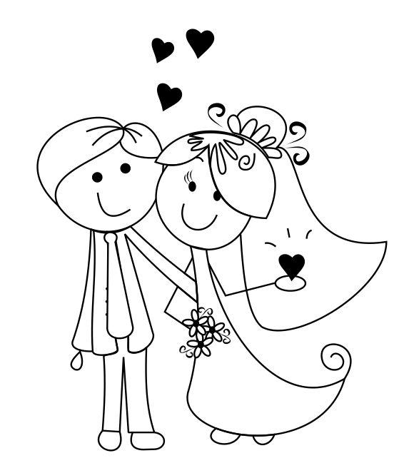 Desenhos de noivinhos para o convite 5