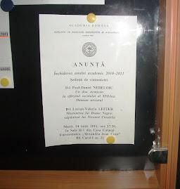 Anunţul oficial al CHGS la afişierul Facultăţii de Istorie, 14.06.2011...