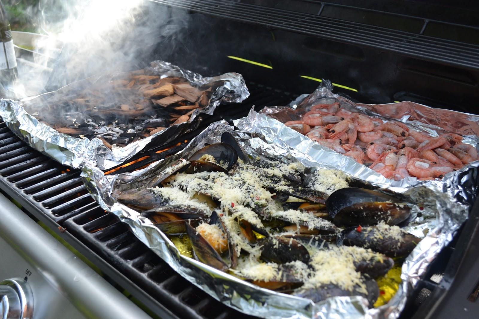Röka räkor grill