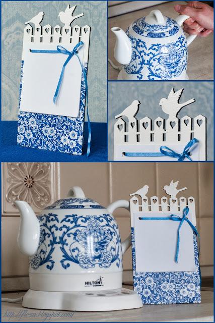 набор для кухни, чайник и магнит, чайник гжель, красивый набор для кухни, кухня сине белый узоры
