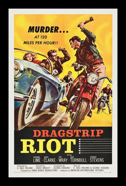 free printable, printable, classic posters, free download, graphic design, movies, retro prints, theater, vintage, vintage posters, Dragstrip Riot, Murder at 120 Miles per hour! - Vintage Movie Poster