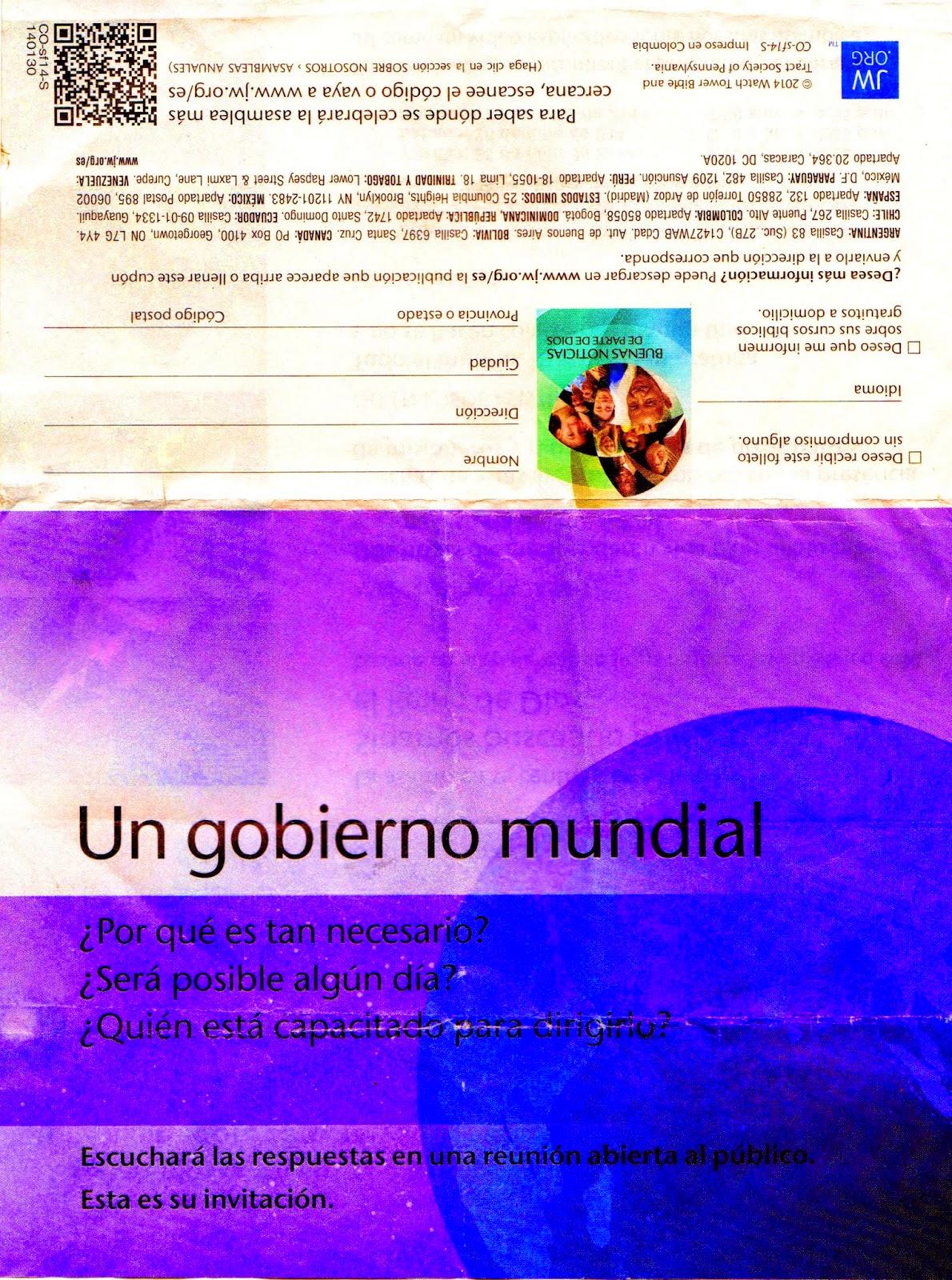 """Los Testigos de Jehová titulan a su asamblea """"Un Nuevo Gobierno Mundial"""". ¿Estan a favor o en contra del Nuevo Orden Mundial de la Bestia? UN+GOBIERNO+MUNDIAL.+Testigos+de+Jehov%C3%A1.+Jehovah%27s+Witnesses.+Propaganda.+Parte+externa"""