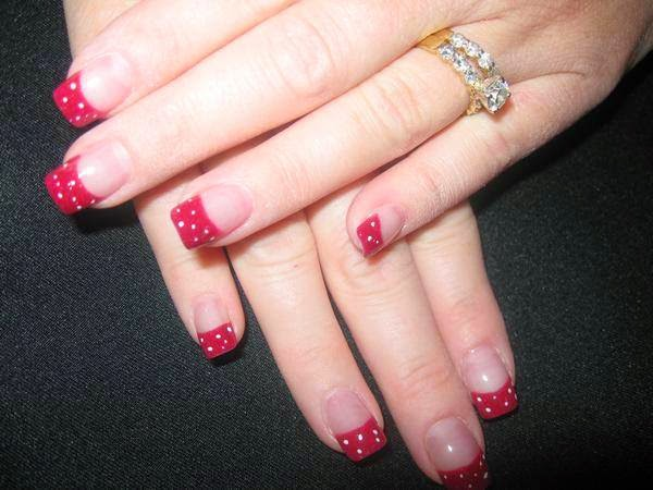 Acrylic overlay hard gel French Shellac manicure polka dots