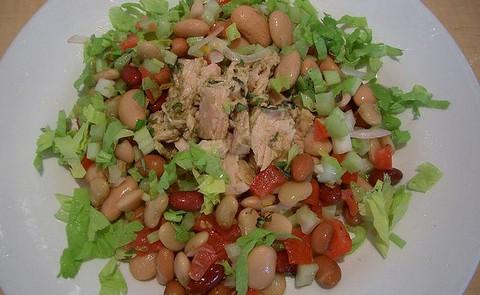 Mixed Bean Tuna Salad with Pesto