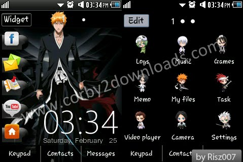 Samsung Corby 2 Theme: Bleach by Risz007