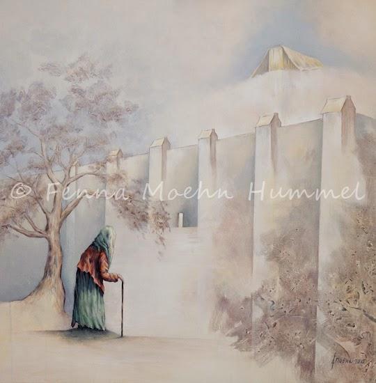 Bijbels schilderij Psalm 84 Eeuwige Tempel, geschilderd door Fenna Moehn Hummel Atelier for Hope Doetinchem