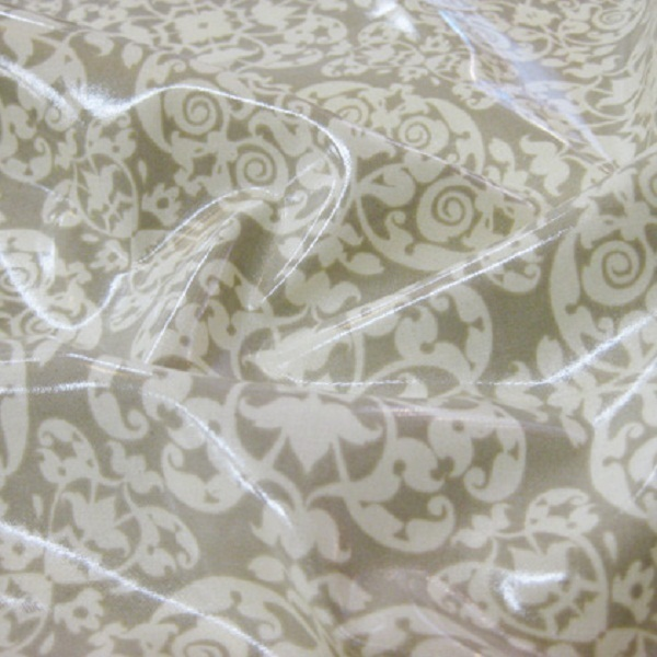 ... Laminated Cotton Fabric Was Added To The Store. Beautiful Cream Scrolls  On Khaki/gray Background. Itu0027s WIDE Too. Lovely For Raincoats, Tablecloths,  ...
