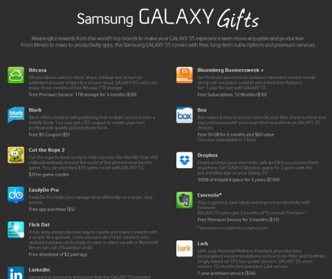 Ecco i regali con applicazioni e servizi gratuiti sul Samsung Galaxy S5