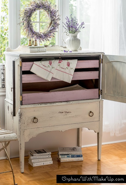 painted highboy dresser with contrasting drawers