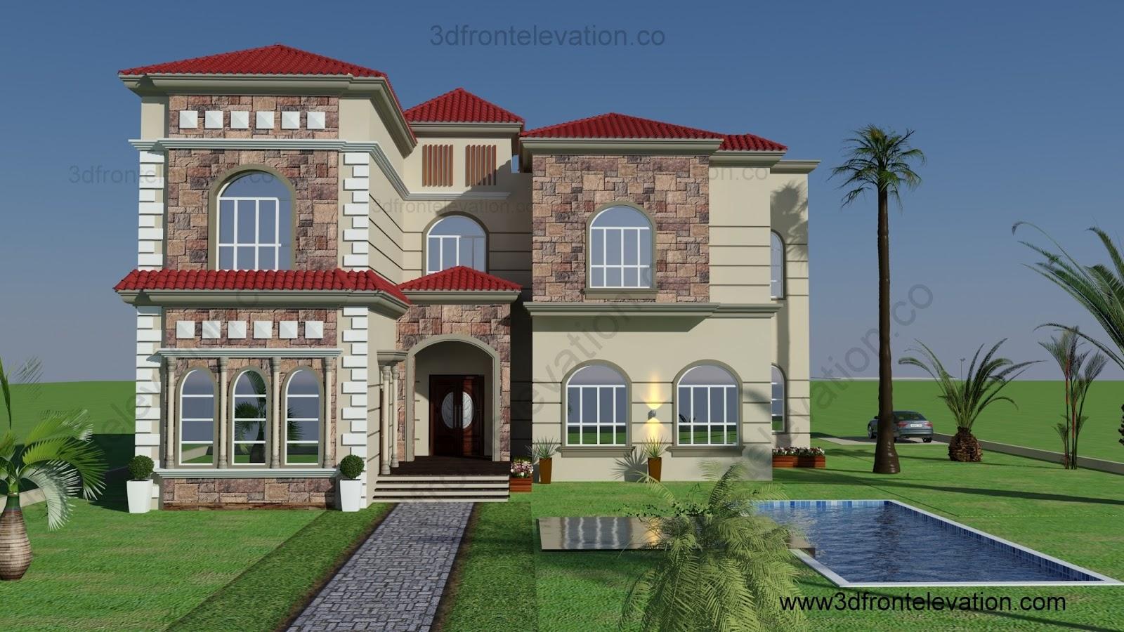 3d front beautiful villa design in for Villa elevation design