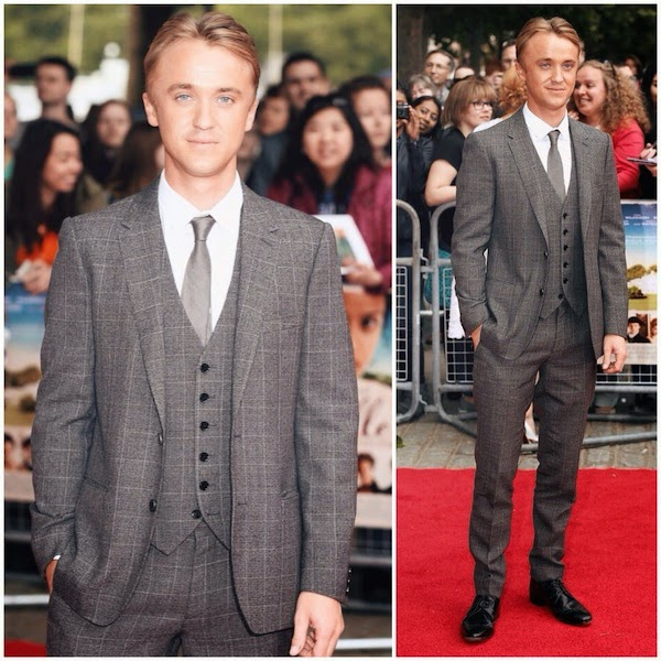 Tom Felton Burberry suit 'Belle' UK Premiere
