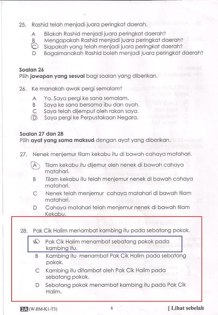 Contoh Soalan Bahagian Kertas Bahasa Melayu Tahun
