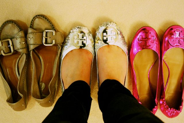 (My favourite flats: Chloe moccasins, Tory Burch silver sequinned Reva's, Tory  Burch pink metallic Reva's)