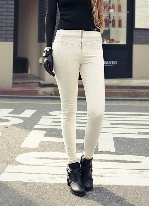 Smocky Jacquard Skinny Pants