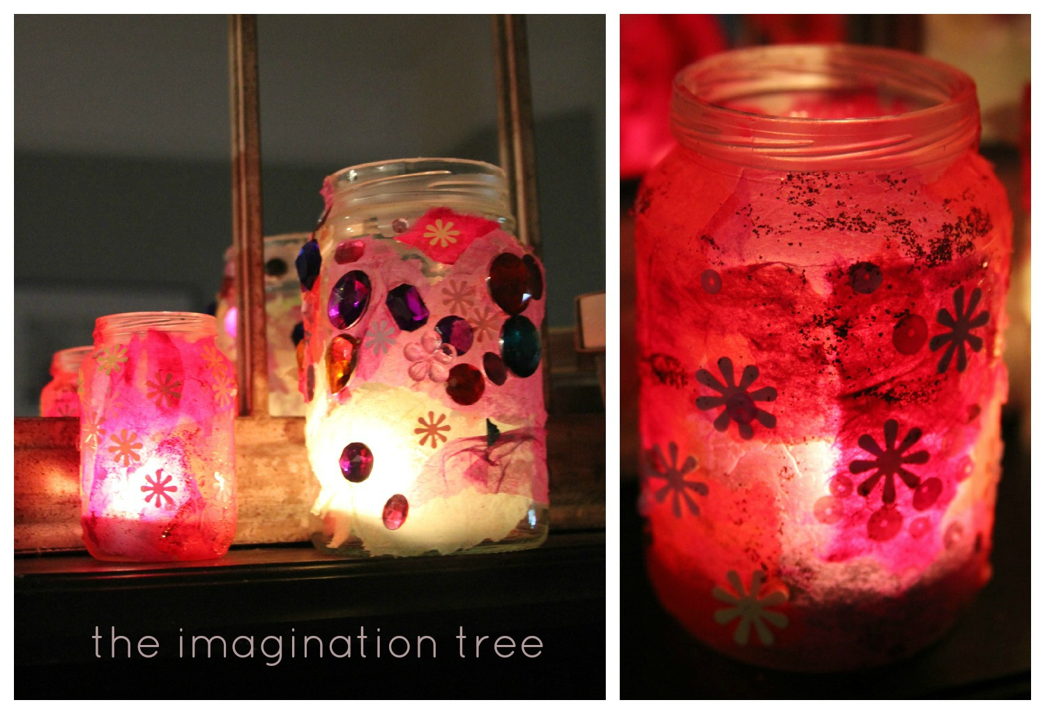 Create beautiful stained glass lanterns using recycled glass jars, tissue  paper and sequins! Perfect for an afternoon art activity