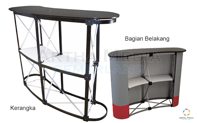 kerangka meja pop up counter, meja counter pop up, meja counter travel, meja counter bank, jual meja counter, desain meja counter, meja counter bekas