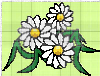 Gambar Pola Kristik Sederhana Bunga Putih