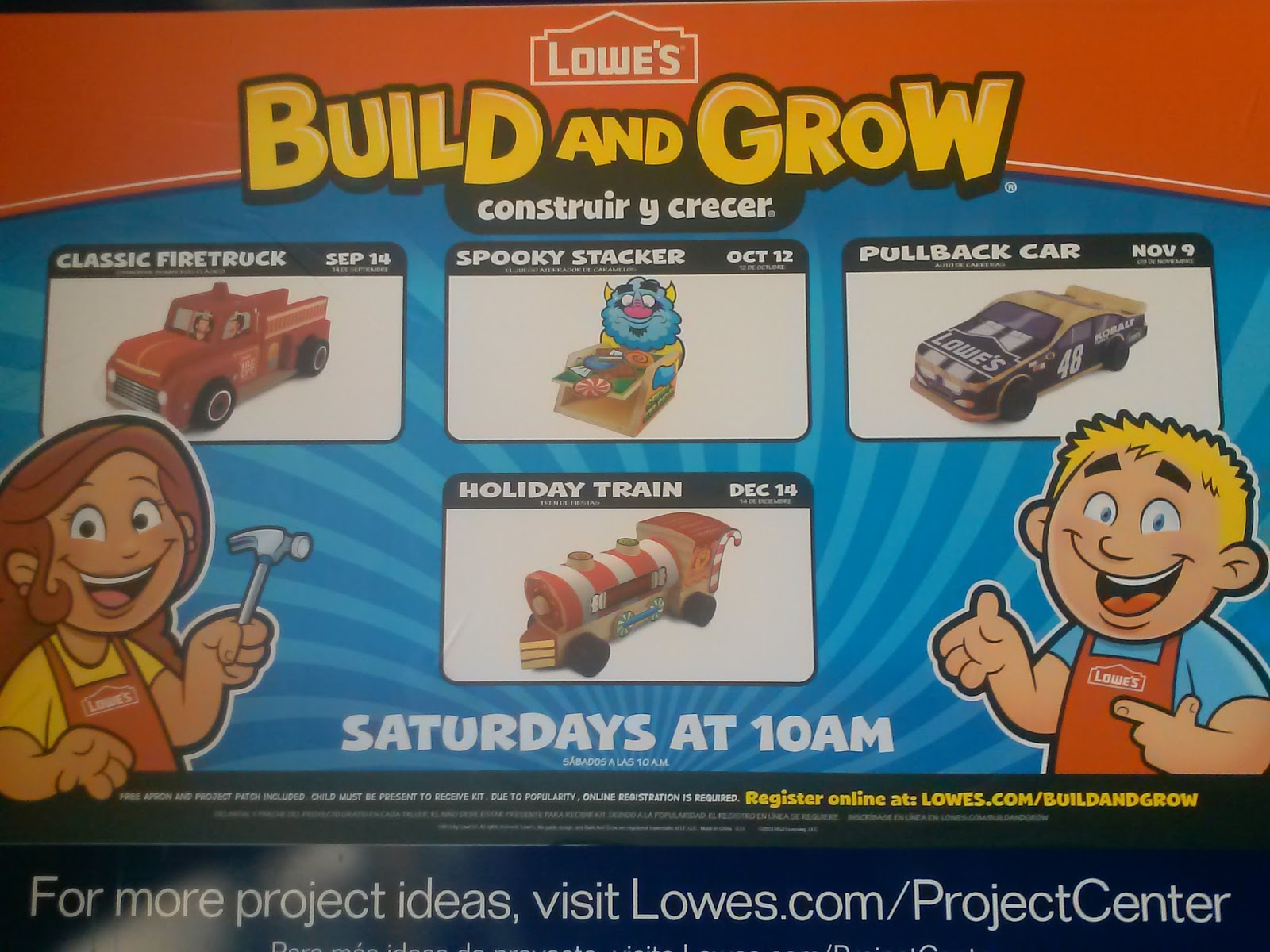 Lowes Build And Grow Sept. - Dec. Clinic Schedule