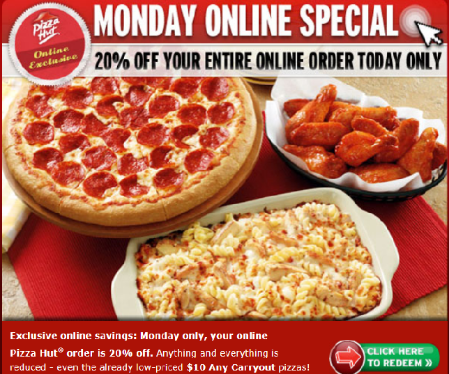 Pizza Hutt Specials can be found each and every day of the week. Some are saved for certain days of the week, such as wing Wednesday, but otherwise you can head on down to your nearest restaurant or phone yourself some takeout any day of the week to take advantage of the Pizza Hut deals.