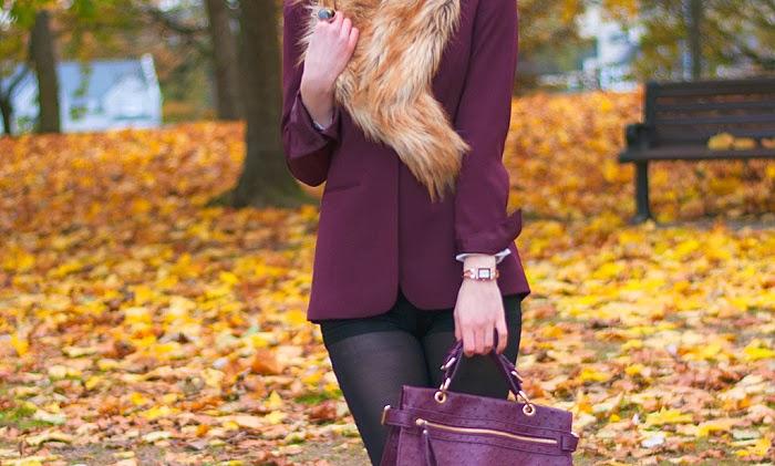 lucie srbová, style without limits, maroon blazer, fur scarf