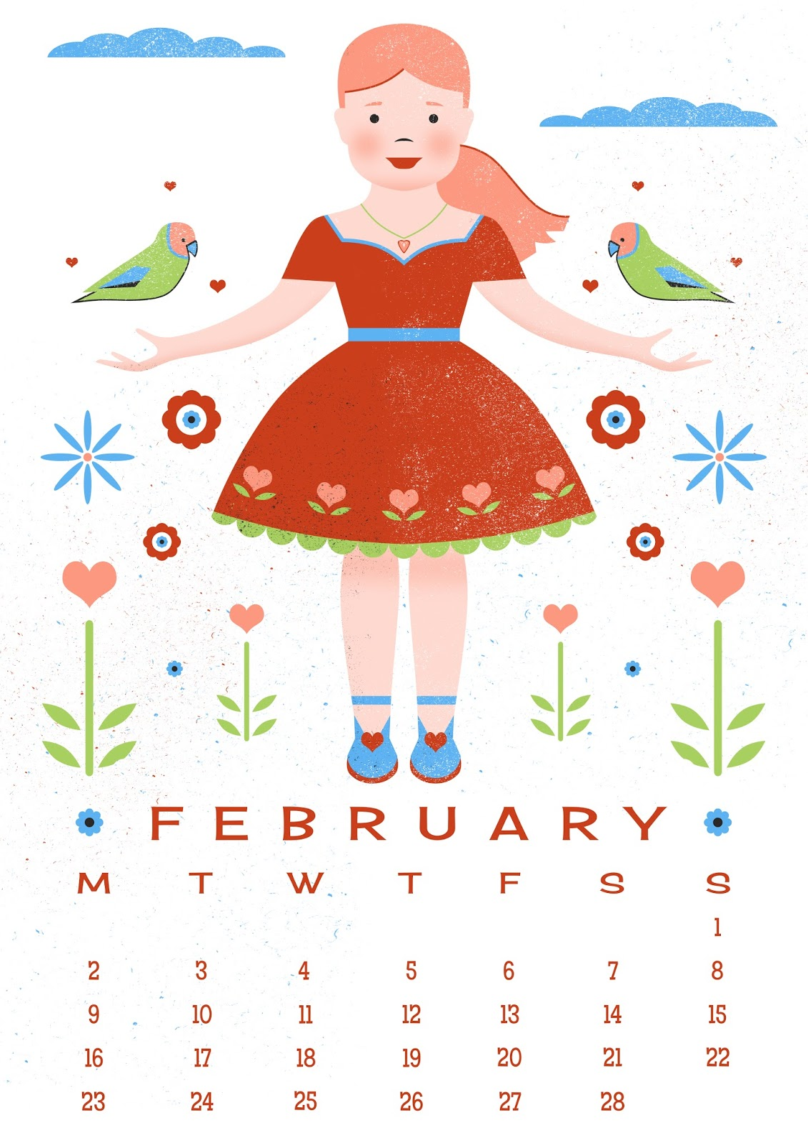 Calendar Illustration Free : Carly watts art illustration free printable february