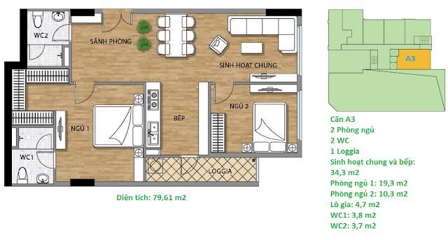 Căn hộ A3 diện tích 79,61 m2 tầng 2 Valencia Garden