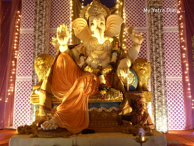 Huge Ganpati Idol in Pandal decorated beautifully
