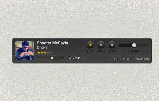 Free Custom Music Player PSD
