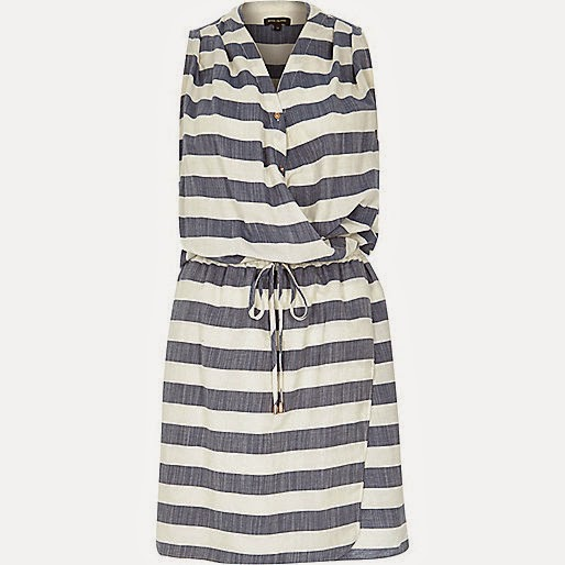 striped river island dress, tied waist stripe dress, river island denim dress,
